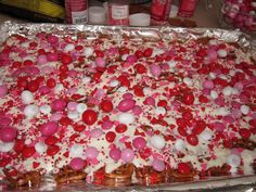 Good sweet & salty  This is so easy to make and I love the way it looks.  This treat just screams happy Valentines day.  All you do is spread some pretzels on a foil covered cookie sheet.  Melt some white chocolate almond bark and drizzle it over the pretzels. Using your choice of Valentine candies and sprinkles, you just sprinkle them over the almond bark.