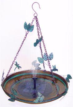 hanging bird bath solar powered mister