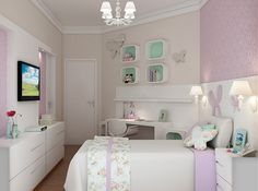 Quarto para menina estilo romântico, uso de laca, papel de parede lilás. Iluminação intimista. Estampa floral na roupa de cama.