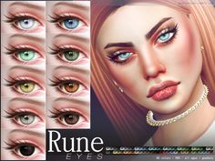 Eyes in 60 colors. (50 solid, 10 duo). All ages all genders.  Found in TSR Category 'Sims 4 Eye Colors'