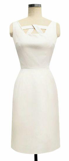 ED71 - TRASHY DIVA ivory satin LOOP DRESS retro cocktail bridal 1950s AS IS sz 6 $110