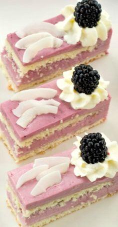 Blackberry Coconut Cakes ~ Coconut sponge with blackberry-coconut mousse
