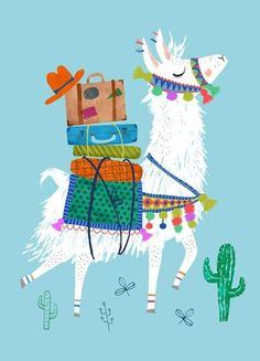 print & pattern blog - psikhouvanjou : Rebecca jones llama postcard