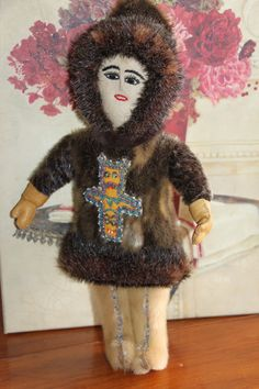 Folk Art Alaska Eskimo Inuit Doll with Beaded by OutrageousObjects, $150.00