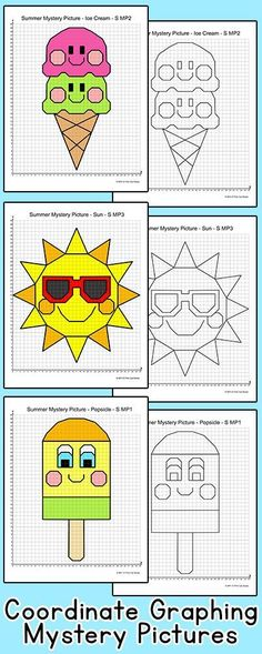 Practice plotting ordered pairs with these fun coordinate graphing Summer theme mystery pictures! An ice cream cone, a sun, a popsicle and flip flops are included. Great for math centers, homework and early finishers. By Pink Cat Studio Blackwork, 7th Grade Classroom, Classroom Ideas, Cartesian Coordinates, Educational Math Games, Graph Paper Art, Online Games For Kids, Math School, Math Lesson Plans