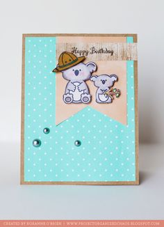 Card created by Roxanne O'Brien using Sweet Stamp Shop's Koala and Juggling Act clear stamp sets.