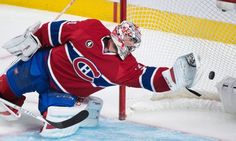 Montreal Canadiens goaltender Carey Price is scored on by Tampa Bay Lightning's Nikita Kucherov during second period of Game 2 NHL second round playoff hockey action in Montreal, Sunday, May 3, 2015. (Graham Hughes/The Canadian Press via AP)