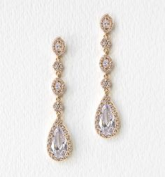 Daisy Gold Long Drop Earrings