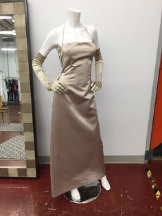 #champagne #satin #prom #formal #wedding #dress #size10 with #gloves #consigned @consignmentbridalprom