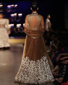 Brown Lengha with Ivory Resham Jaal Work - Indian Couture Week 2014 - Runway - Shop Women