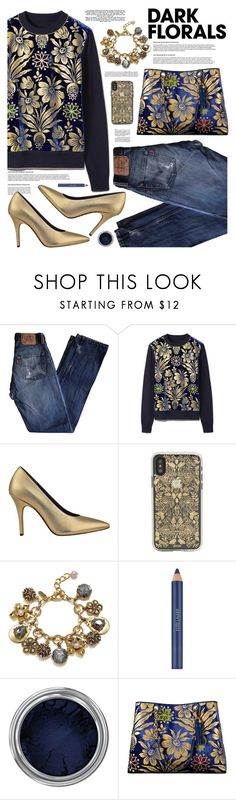 """""""Winter Prints: Dark Florals"""" by tinkabella222 ❤ liked on Polyvore featuring Levi's, Tory Burch, 7 For All Mankind, Badgley Mischka, Estée Lauder, Concrete Minerals and darkflorals"""