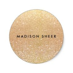 Simple Gold Glitter Classic Round Sticker - hair salon gifts customize personalize ideas diy