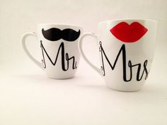 His and Her, Mr. and Mrs. Lip and Mustache Coffee Mugs Wedding Gift Anniversary Gift