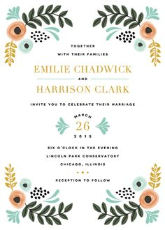 Whimsical Florals Wedding Invitations by Lehan Veenker
