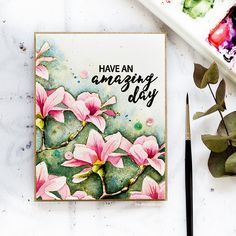 No-line watercoloured handmade magnolia flower card by Debby Hughes using the Build A Flower Magnolia set from Altenew; Flower Stamp, Flower Cards, Altenew Cards, Doodle Designs, Diy Cards, Handmade Cards, Watercolor Cards, Watercolor Painting, Card Making Inspiration