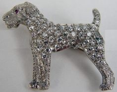 "Woof! Deco-era Airedale with diamond ""fur""   marked J.E. Caldwell, attrib GUSTAV MANZ #asta #"