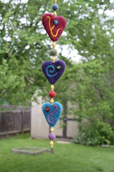 needle felted heart dangler