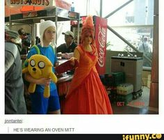 Cute Finn and Flame Princess cosplay