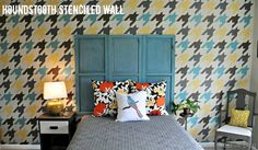 Houndstooth Stenciled Wall - lots of good stenciling details