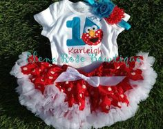 Red Elmo birthday outfit 1st 2nd birthday by WildRoseBoutique2