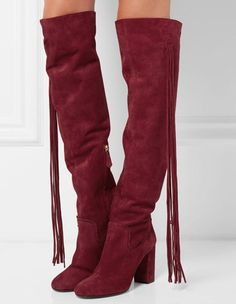 Women's Fringed Frosted High Heels Zipper Pointed Closed Toe Boots