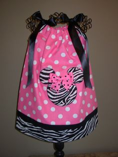 Minnie Mouse Pillowcase Dress Zebra and Pink Polka Dot by STLGIRL, $20.00
