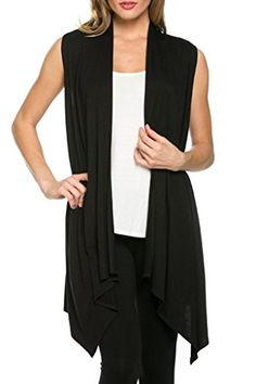 Women's Solid Color Sleeveless Asymetric Hem Open Front Cardigan -Made in USA