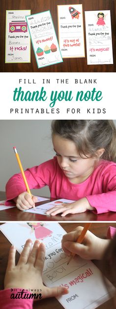 This is a good idea! Printable fill in the blank thank you notes for kids make it easy for children to write their own thank you notes after birthdays, Christmas, and other holidays. Free printables!
