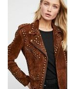 New Woman Black Brown American Western Silver Studded Suede Leather Jack... - $189.99+