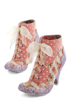 You're Glam-azing! Bootie by Irregular Choice - Mid, Woven, Mixed Media, Pink, Stripes, Floral, Novelty Print, Flower, Glitter, Statement, Quirky, Best, Lace Up, Valentine's, French / Victorian