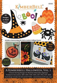 Halloween Vol 1 - Machine Embroidery Designs - Kimberbell - KD502 - CD of Patterns