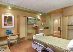 Patient Room at the Indu & Raj Soin Medical Center, Beavercreek, OH. Designed by Jain Malkin Inc. and HOK