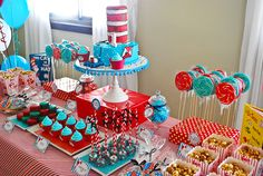 so many good ideas here! Cat In the Hat Inspired Dessert Table by Amy Atlas