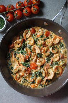 Shrimp, Parmesan cream sauce and spinach - My tasty cuisine - Carinne - - Crevettes, sauce crème parmesan et épinards – My tasty cuisine Shrimp, Parmesan cream sauce and spinach – My tasty cuisine Seafood Pasta Recipes, Fish Recipes, Easy Smoothie Recipes, Healthy Recipes, Coconut Recipes, Food And Drink, Tasty, Dinner, Ethnic Recipes