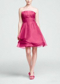 #DBBridalStyle Bridesmaids dresses?Strapless organza dress is elegant and feminine, perfect for any member of your bridal party.  Strapless bodice features unique pleating detail for added dimension.  Ruched waist creates a flawless and flattering look.  Layered organza skirt is soft and romantic.  Fully lined. Back zip. Imported polyester. Dry clean only.�