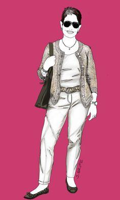 Dieses sportlich-klassische Outfit für die X-Figur mit Bäuchlein weist mehrere interessante stilistische Details auf.