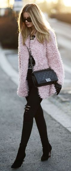 Pink Fluffy Coat | Winter.