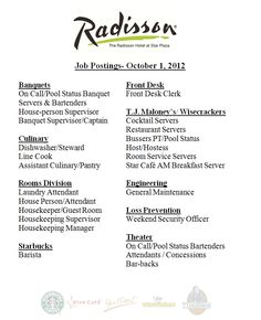 We Are Hiring At The Radissonstar Plaza In Merrillville Managed By Whitelodging