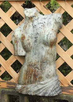 Venus Torso (Hanging). Stained ornamental concrete plaque for garden or outdoor patio wall.