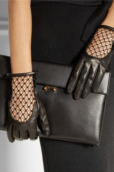 Gucci Leather and net gloves