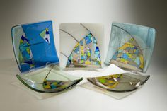 carla sarvis fused glass mosaic plates