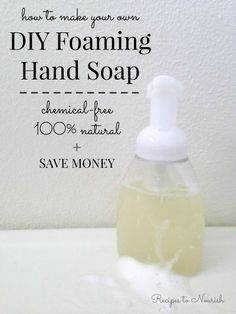 making your own hand soap is so easy! This recipe only has 4 ingredients, it's safe and gentle, all natural organic. Cleaning Recipes, Soap Recipes, Cleaning Tips, Easy Recipes, Be Natural, Natural Oils, Natural Skin, Natural Living, Beauty Recipe