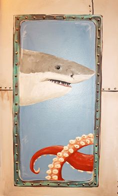 Submarine themed bathroom mural, shark, fishes, octopus, and scuba diver, for the beach themed house Theraggedwren.blogspot.com