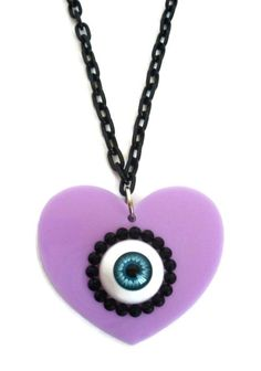 Pastel Goth Eyeball Necklace - Laser Cut Acrylic Lilac on Etsy, $14.72 CAD