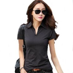 80003ec21d7 wholesale Summer Polo Shirt Women 2016 New Short Sleeve Solid Slim Polos Mujer  Shirts Tops Fashion Plus Size Polo Femme 5 Color