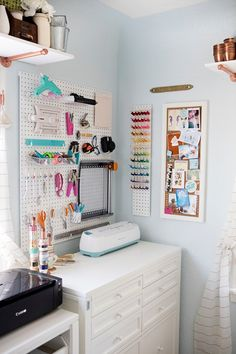 The Something Turquoise Craft Room - Using Peg Boards, Cork Boards, Lots of shelving and lots of copper paint! 15 Stunning Craft Storage Ideas You Will Want To Steal Craft Room Storage, Craft Organization, Storage Ideas, Shelving Ideas, Pipe Shelving, Creative Storage, Organizing Ideas, Storage Solutions, Craft Room Shelves