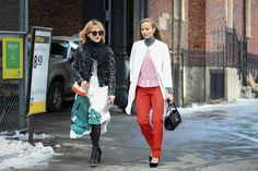 Below-Freezing NYC Street Style That's Still Fire #refinery29  http://www.refinery29.com/2015/02/82279/new-york-fashion-week-2015-street-style-pictures#slide-144  Our own executive creative director Piera Gelardi and senior style editor Annie Georgia Greenberg combat a chilly breeze with bold splashes of color....