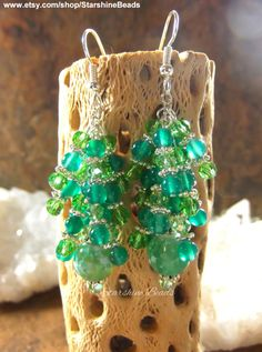 Green Onyx & Crystal Waterfall Earrings  Green by StarshineBeads