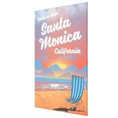 #Santa Monica California vintage beach poster Canvas Print - #travel #art