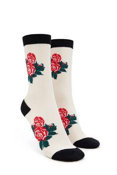 Rose Print Crew Socks